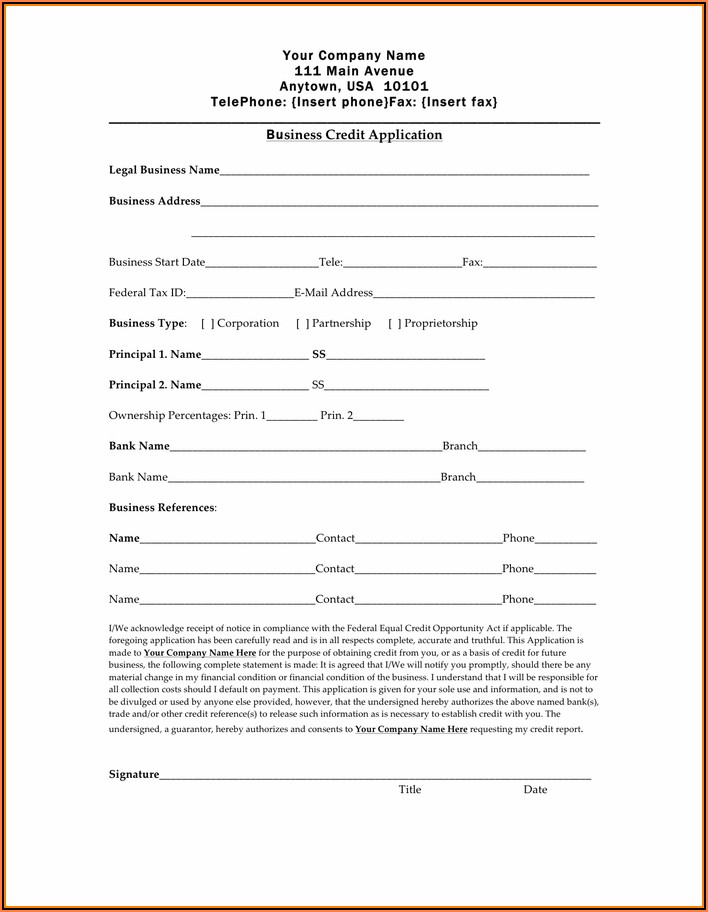Business Credit Application Form Template Free Uk