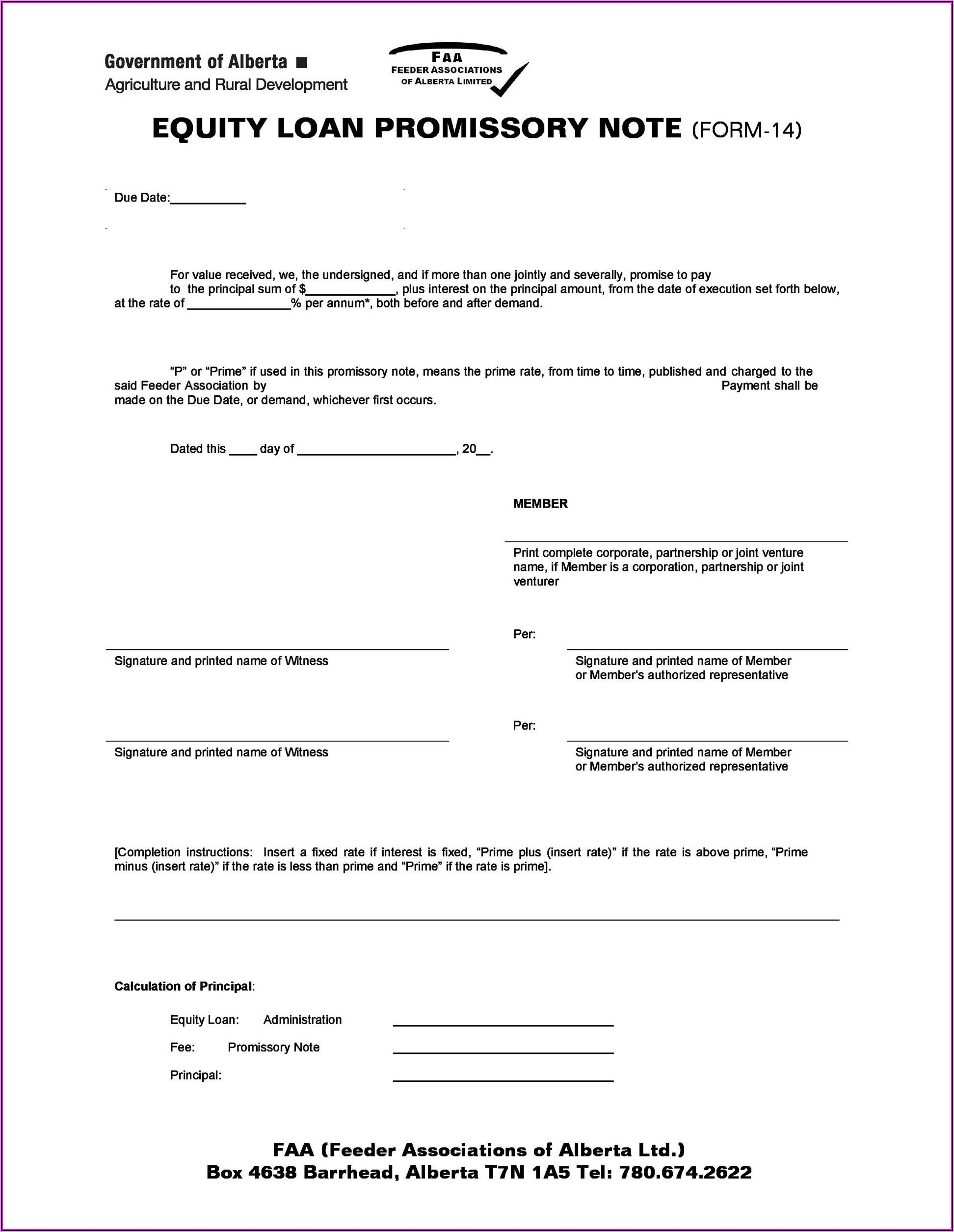 Canadian Promissory Note Form