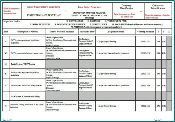 Cctv Camera Inspection Report Template