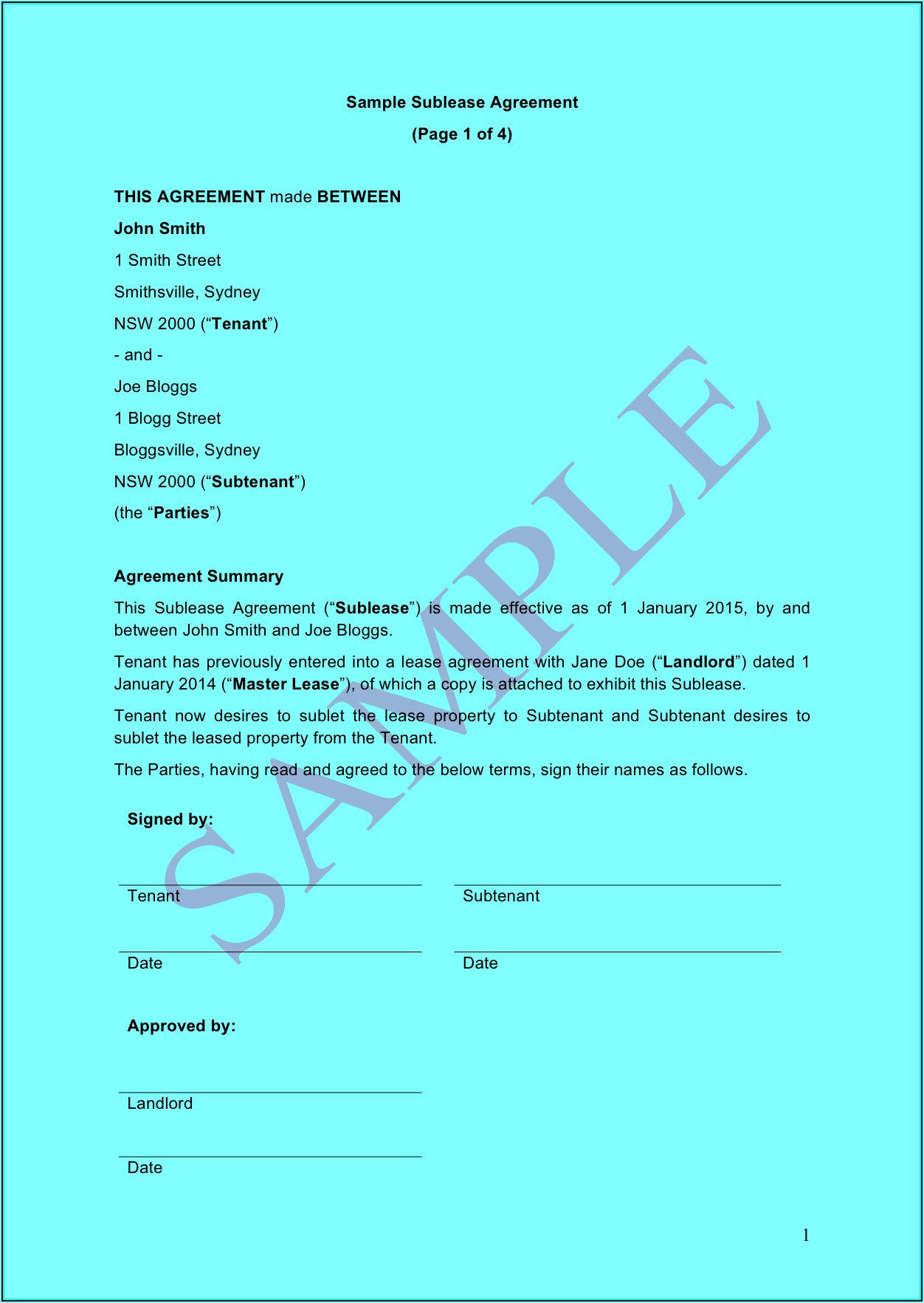 Commercial Sublease Agreement Nsw Template Free