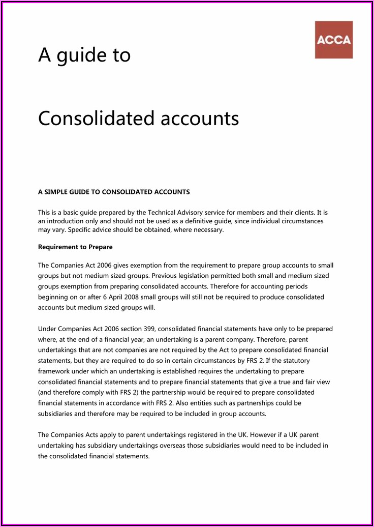 Consolidated Financial Statements Format Acca