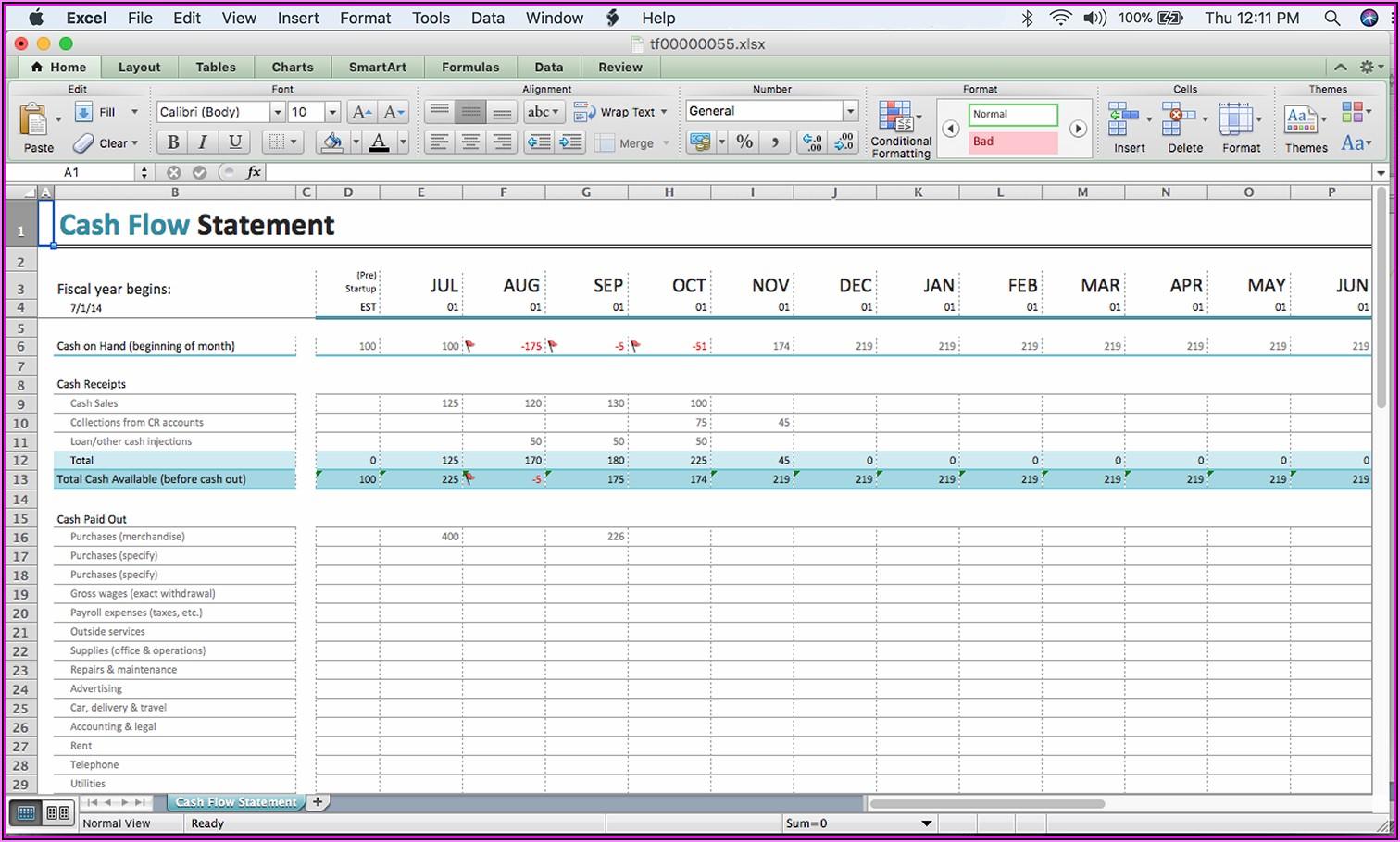 Construction Cash Flow Projection Excel Template