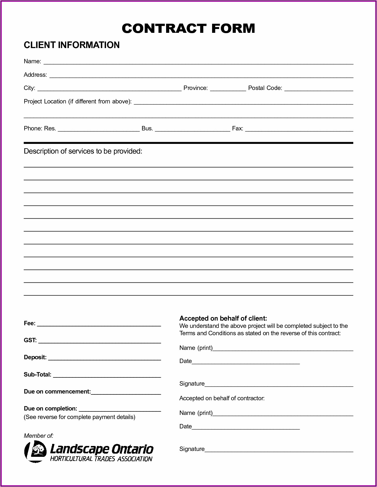 Contractor Contract Template Free