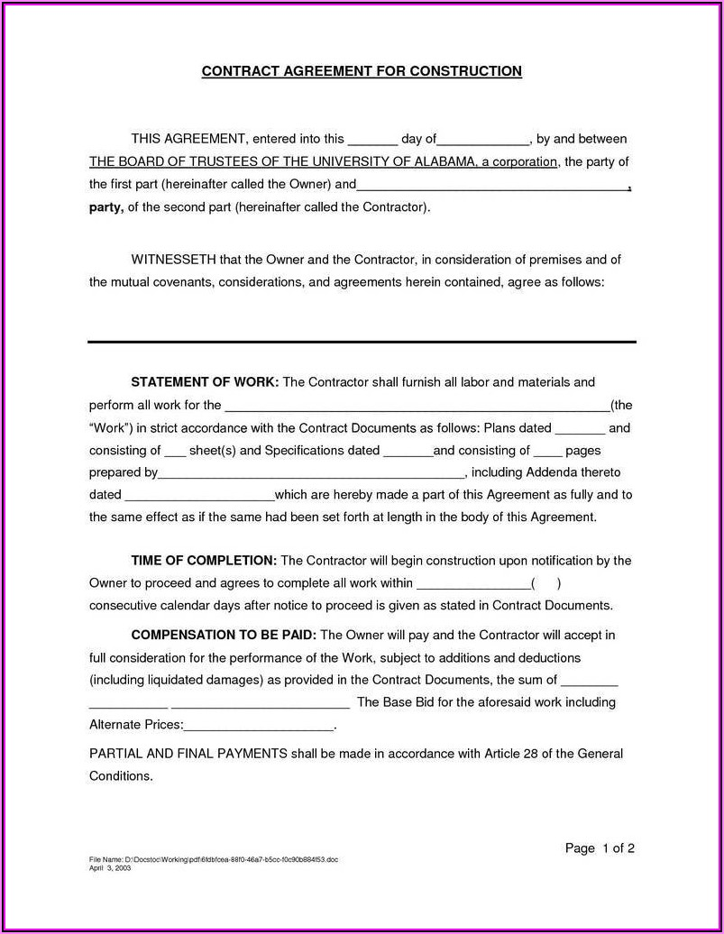 Contractor Sample Contract