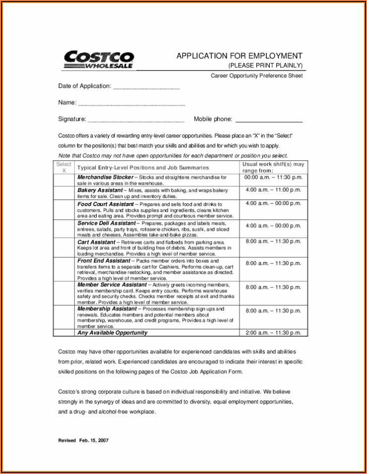 Costco Employment Application Form