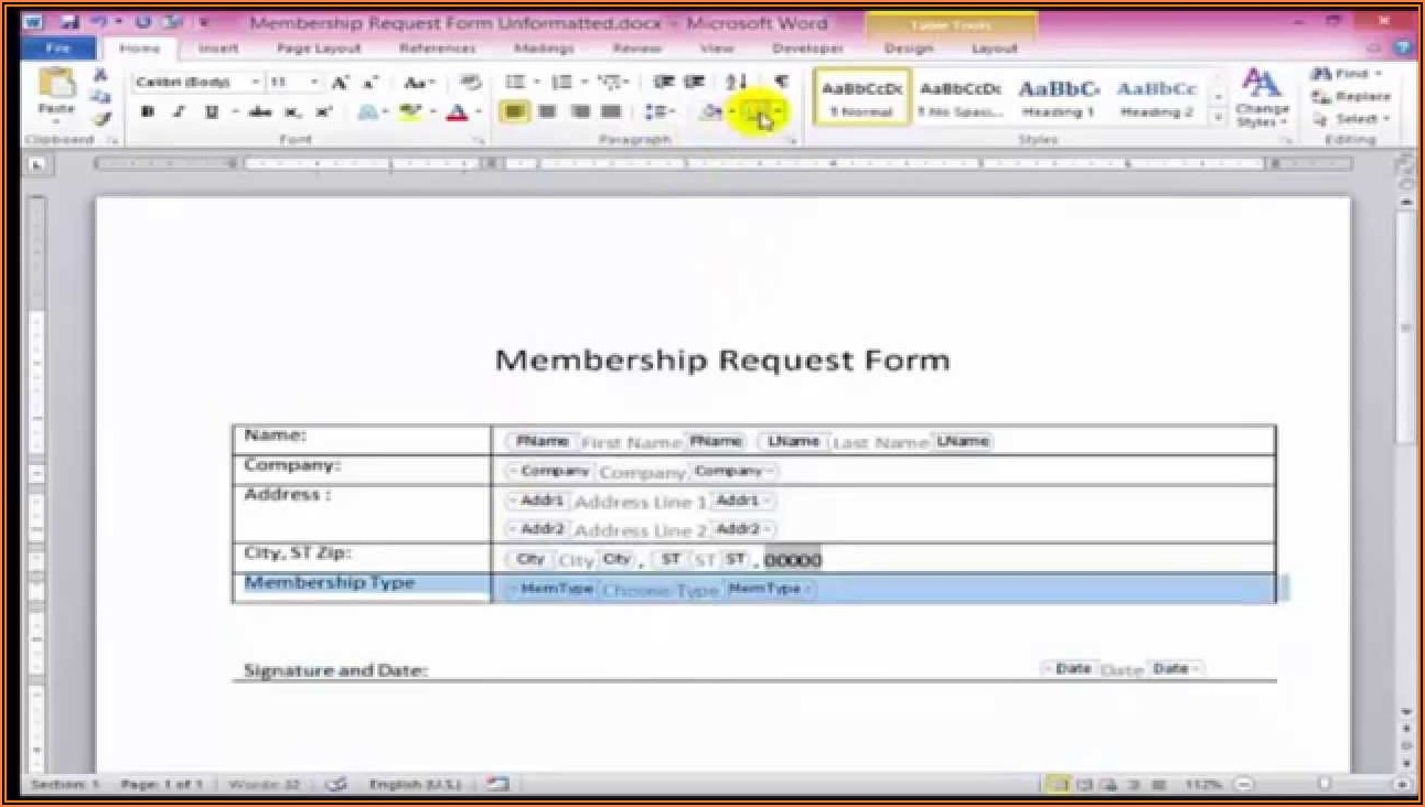 Creating A Fillable Form In Word 2010