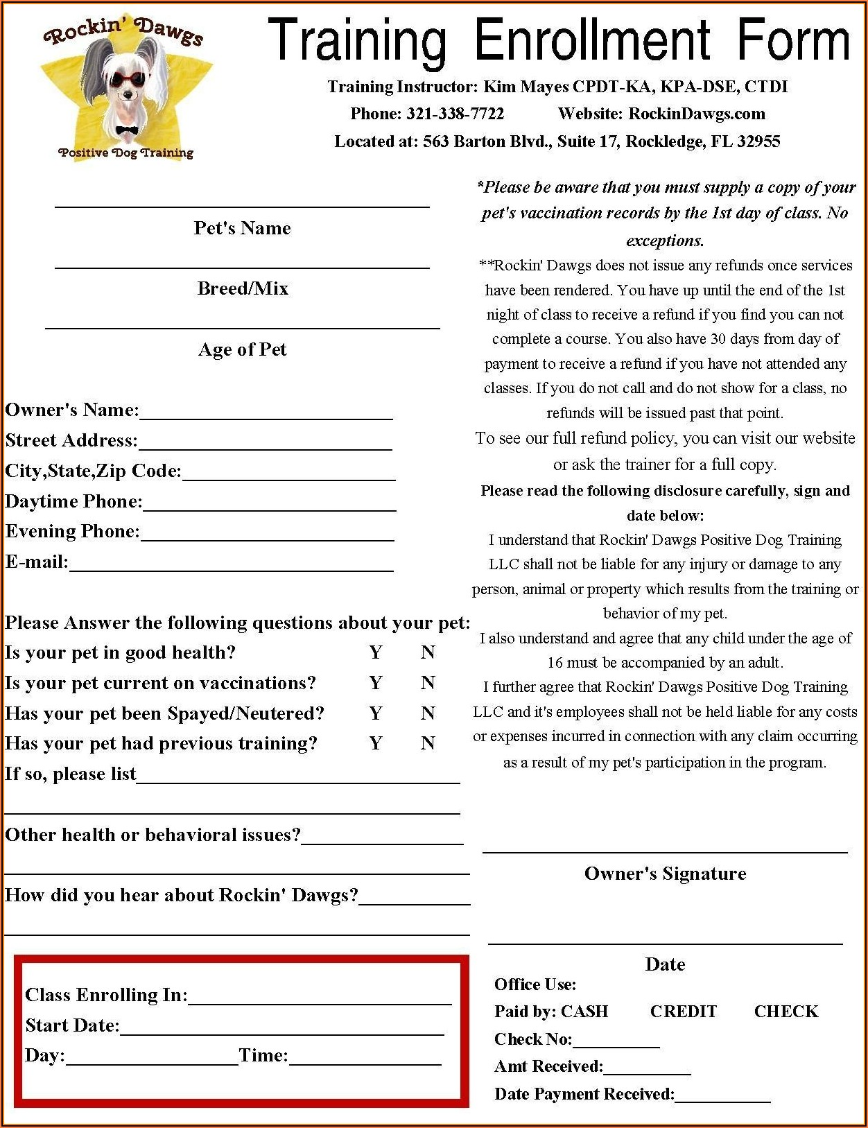 Daycare Enrollment Form Pdf