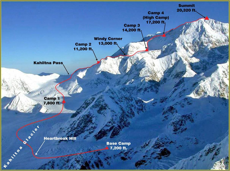 Denali Climbing Routes Map