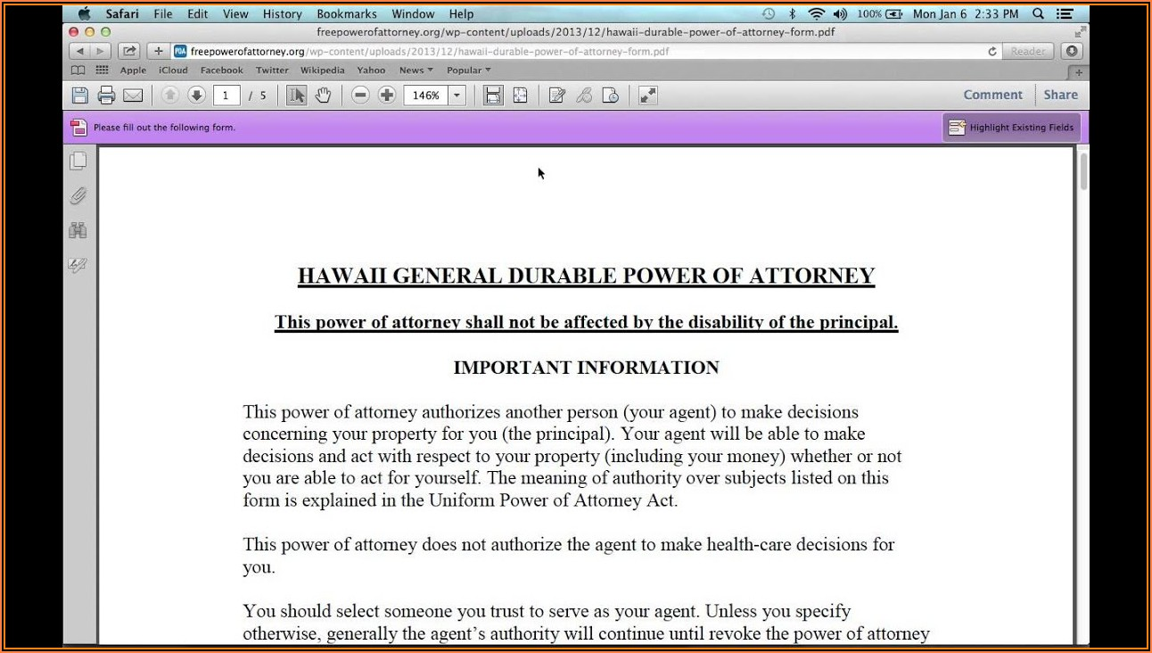 Dmv Power Of Attorney Form Hawaii
