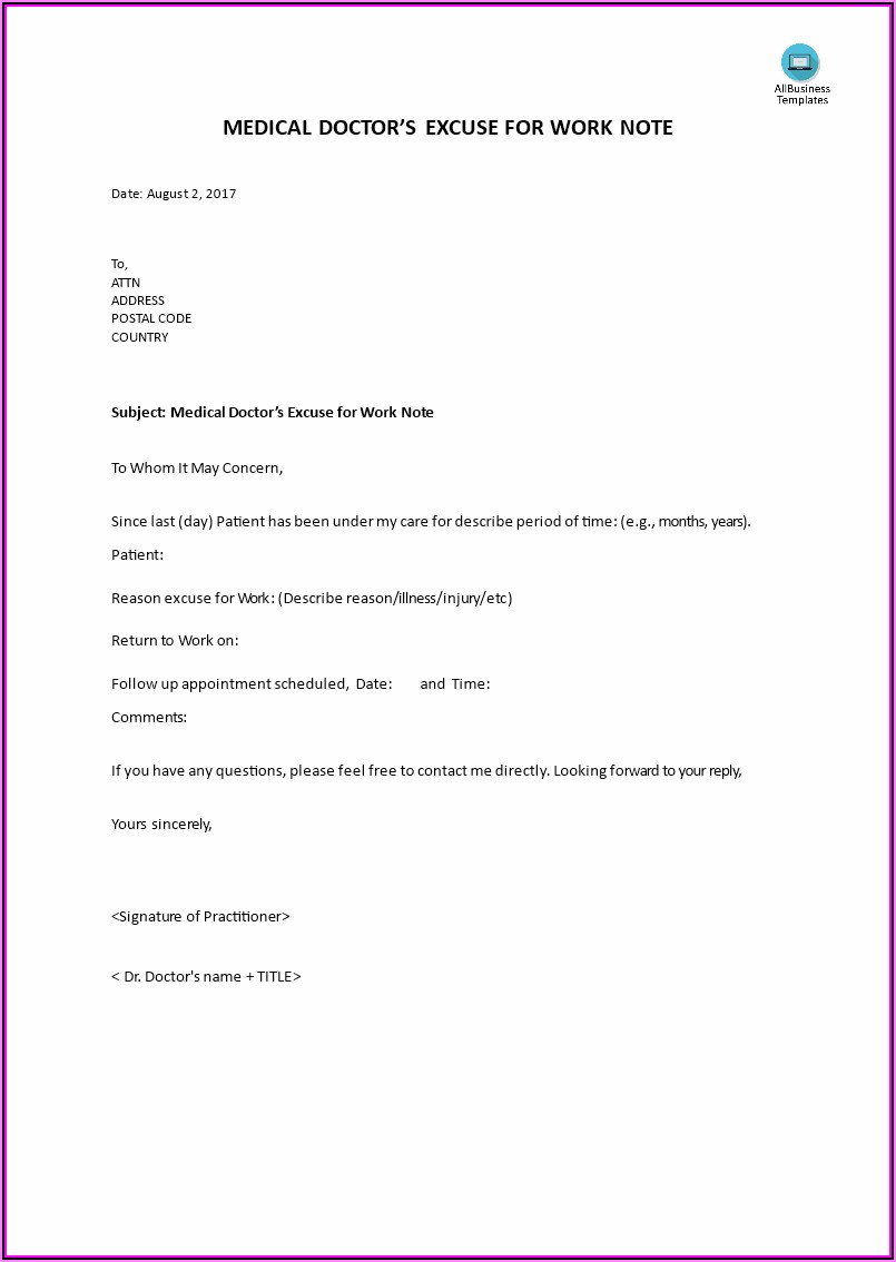 Doctors Note For Work Template Download