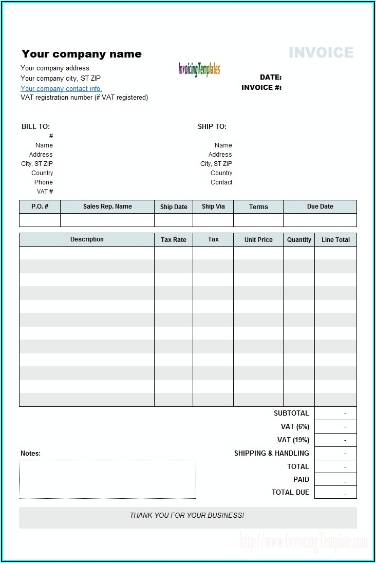 Download Blank Invoice Template Word