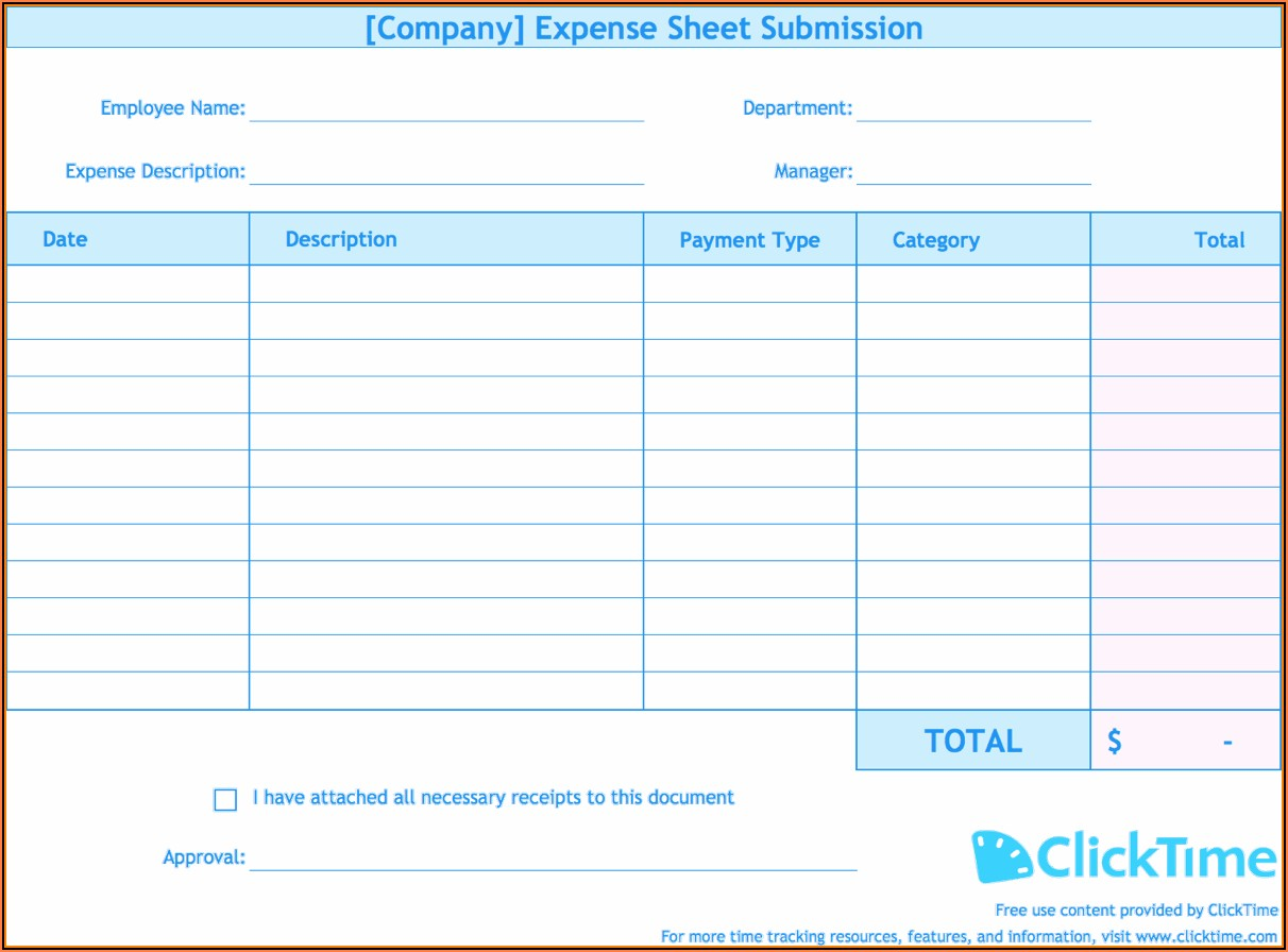 Employee Expense Report Form Excel