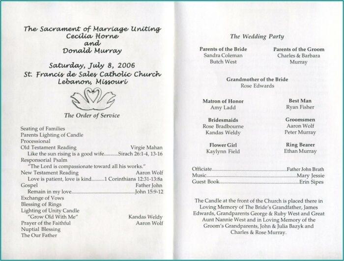 Examples Of Wedding Program Templates