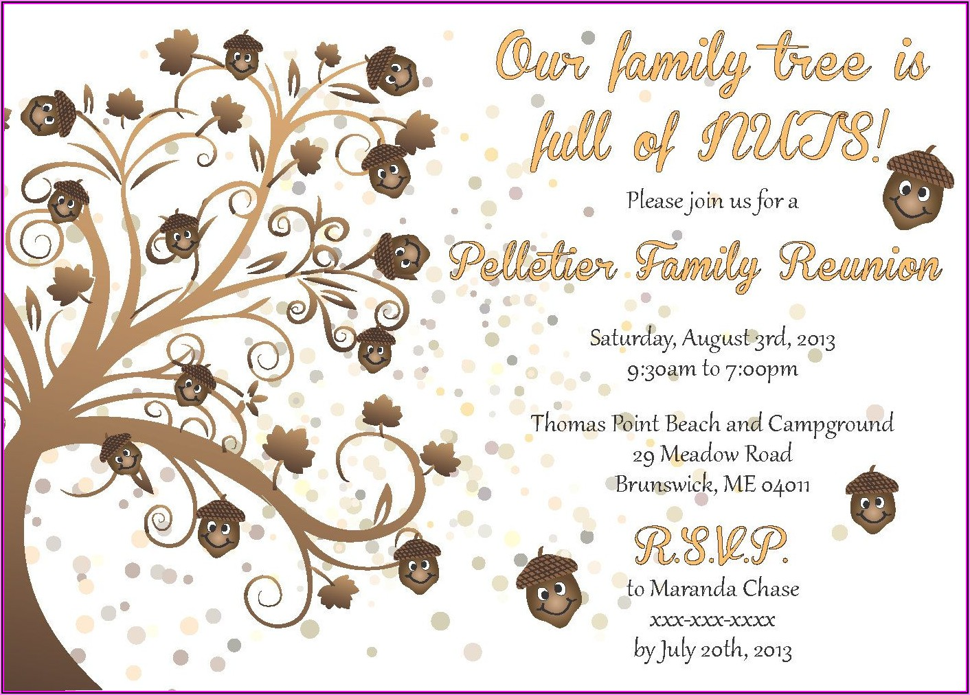 Family Reunion Invitation Postcard Template