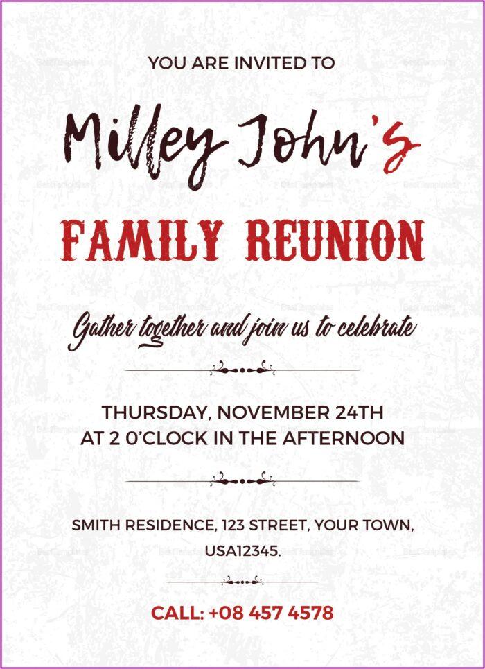 Family Reunion Invitation Templates Word