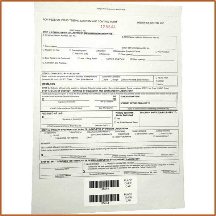 Federal Chain Of Custody Form Drug Test