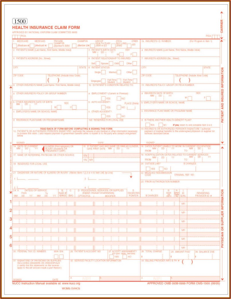 Fillable 1500 Claim Form