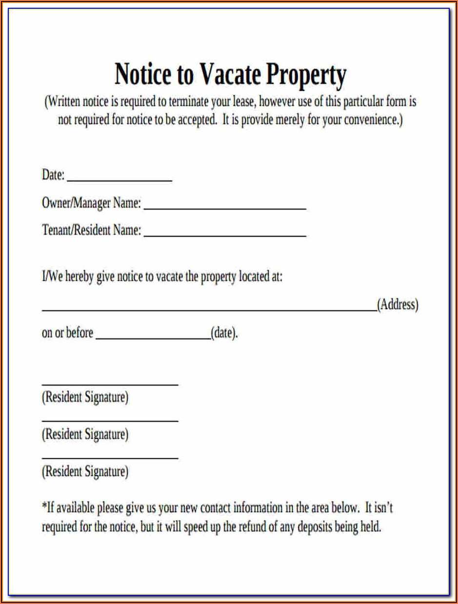 Forms To Vacate Tenant