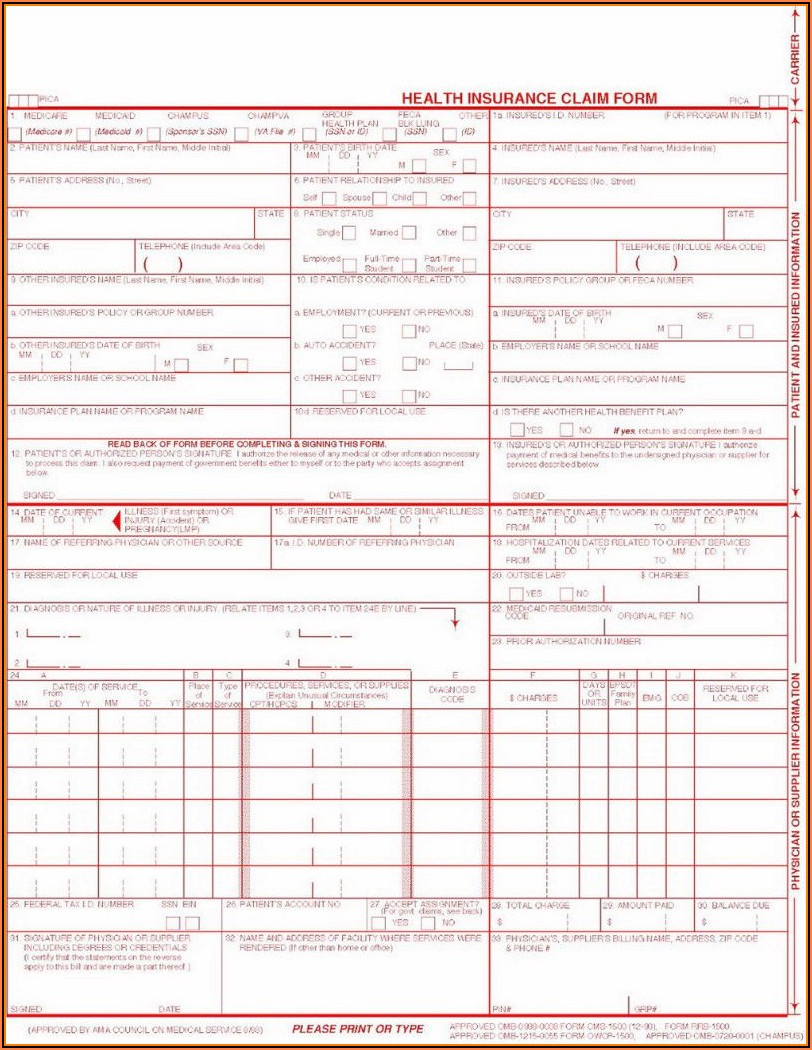 Free 1500 Form Template