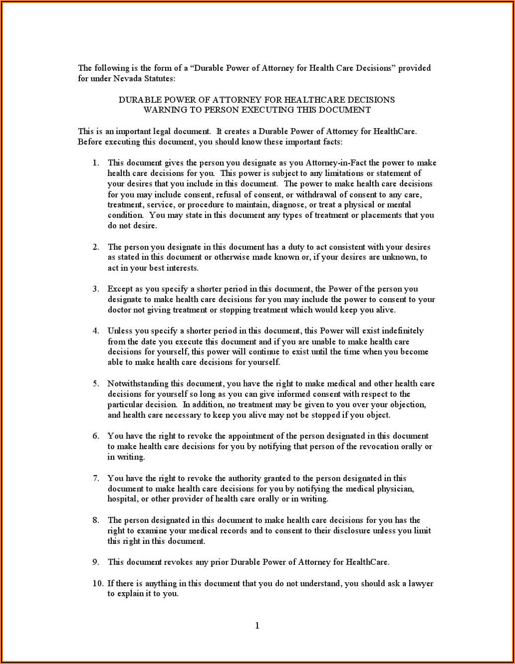 Free Advance Directive Forms Nevada