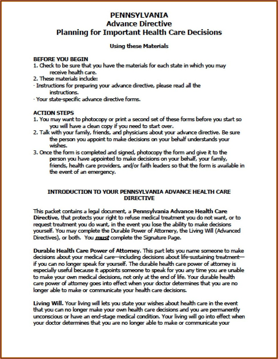 Free Advance Directive Forms Pennsylvania