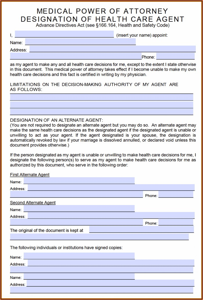 Free Advance Directive Forms Texas
