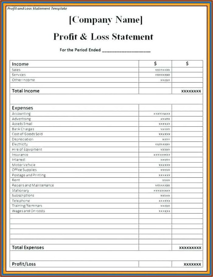 Free Blank Profit And Loss Form