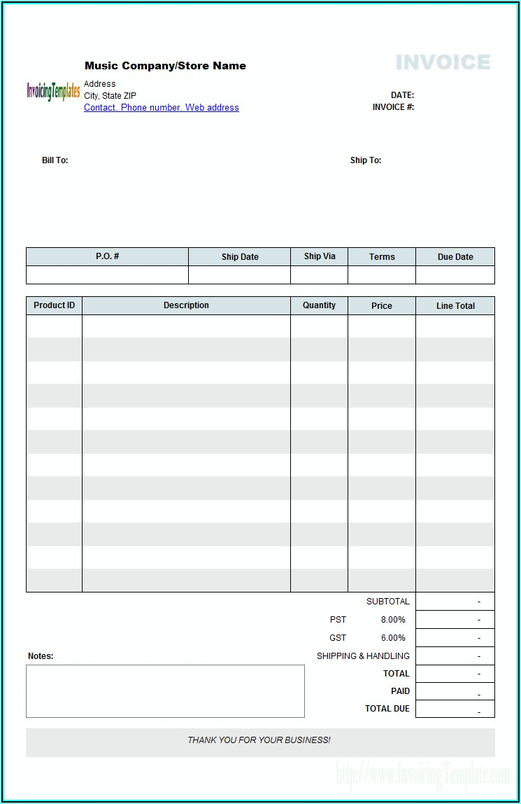 Free Download Blank Invoice Template Excel