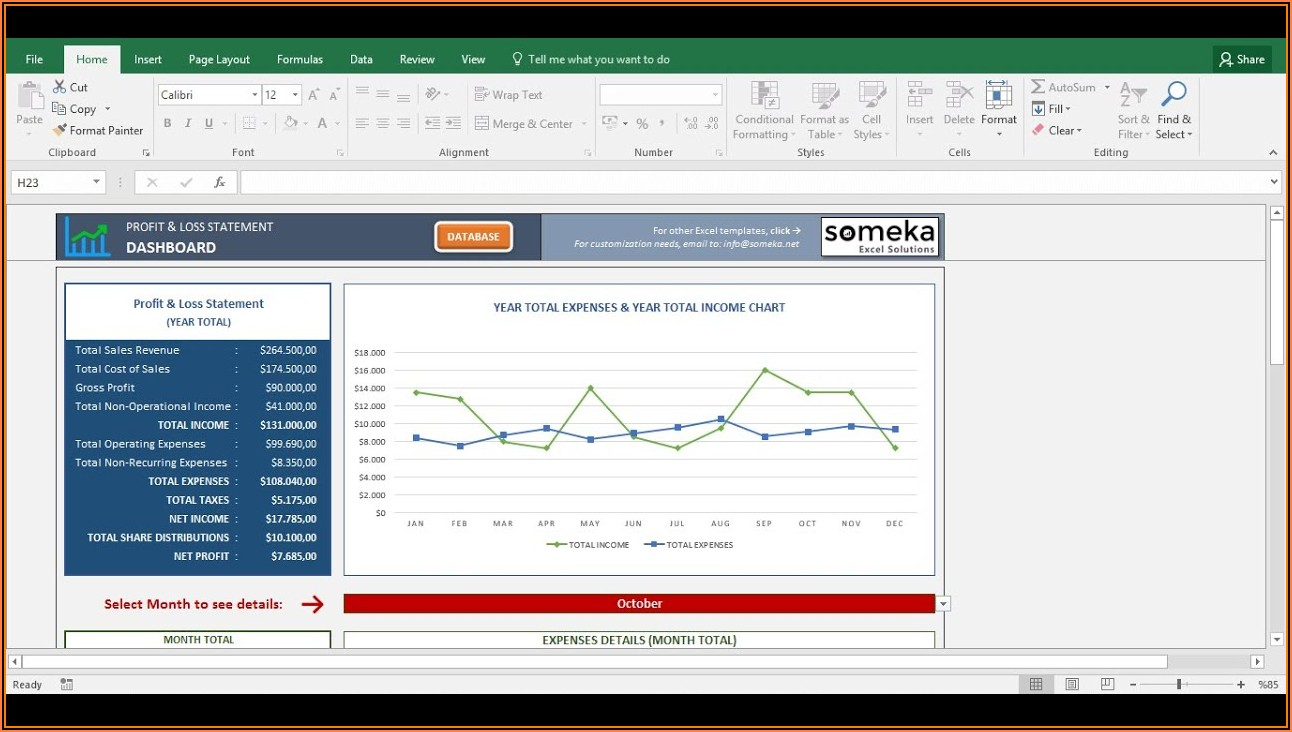 Free Excel Profit And Loss Template