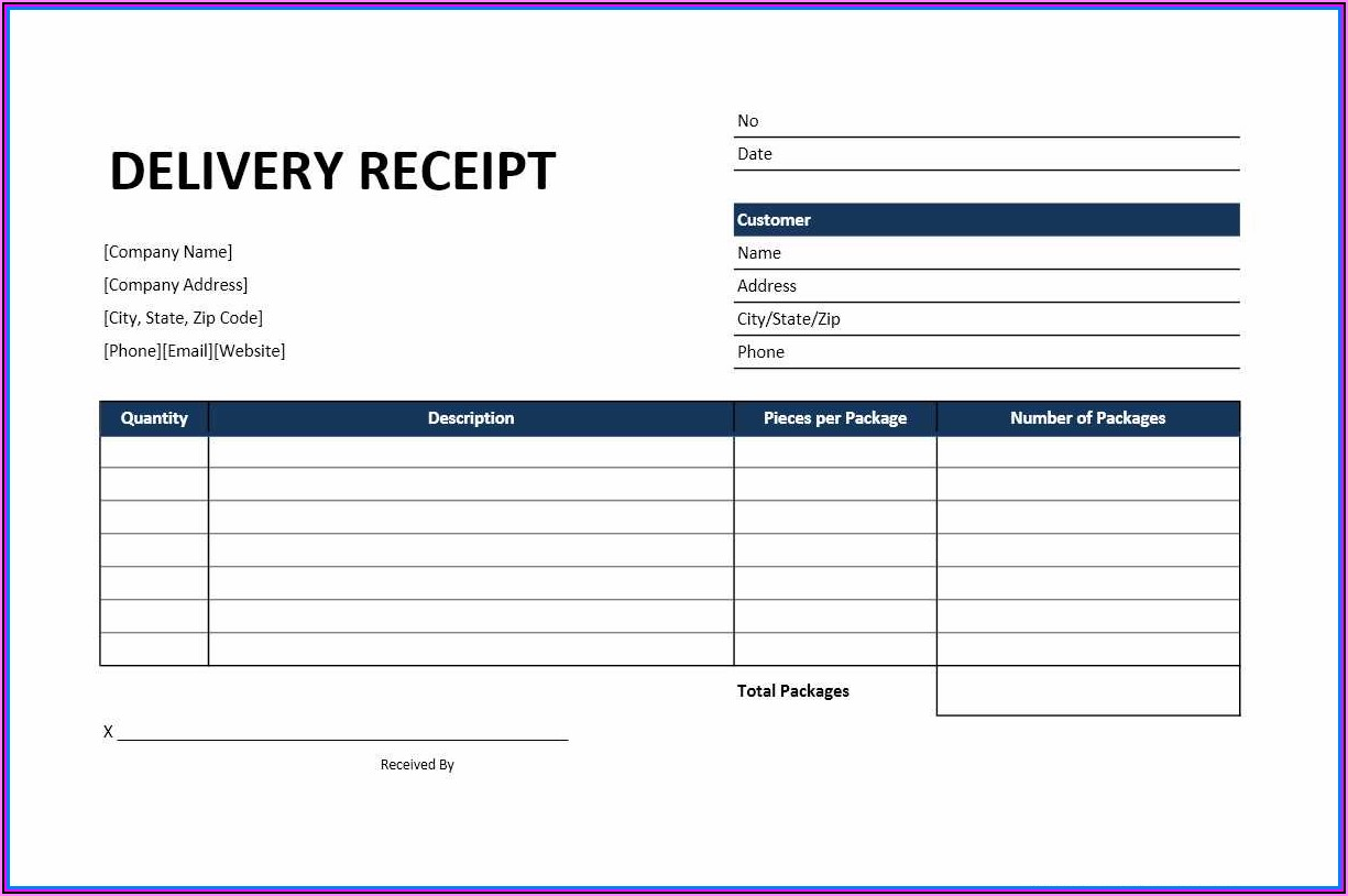 Free Excel Receipt Template