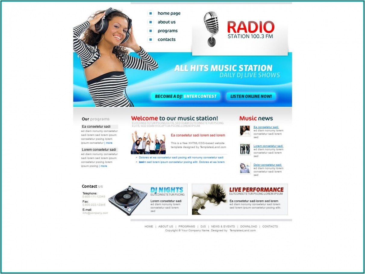 Free Html Radio Station Website Templates