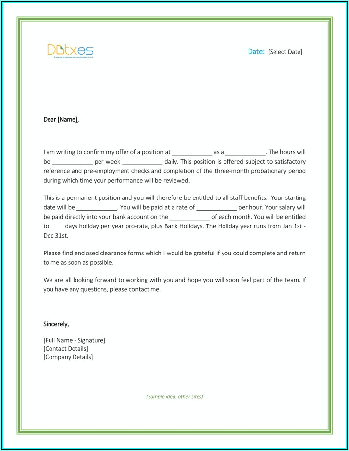 Free Job Offer Letter Template