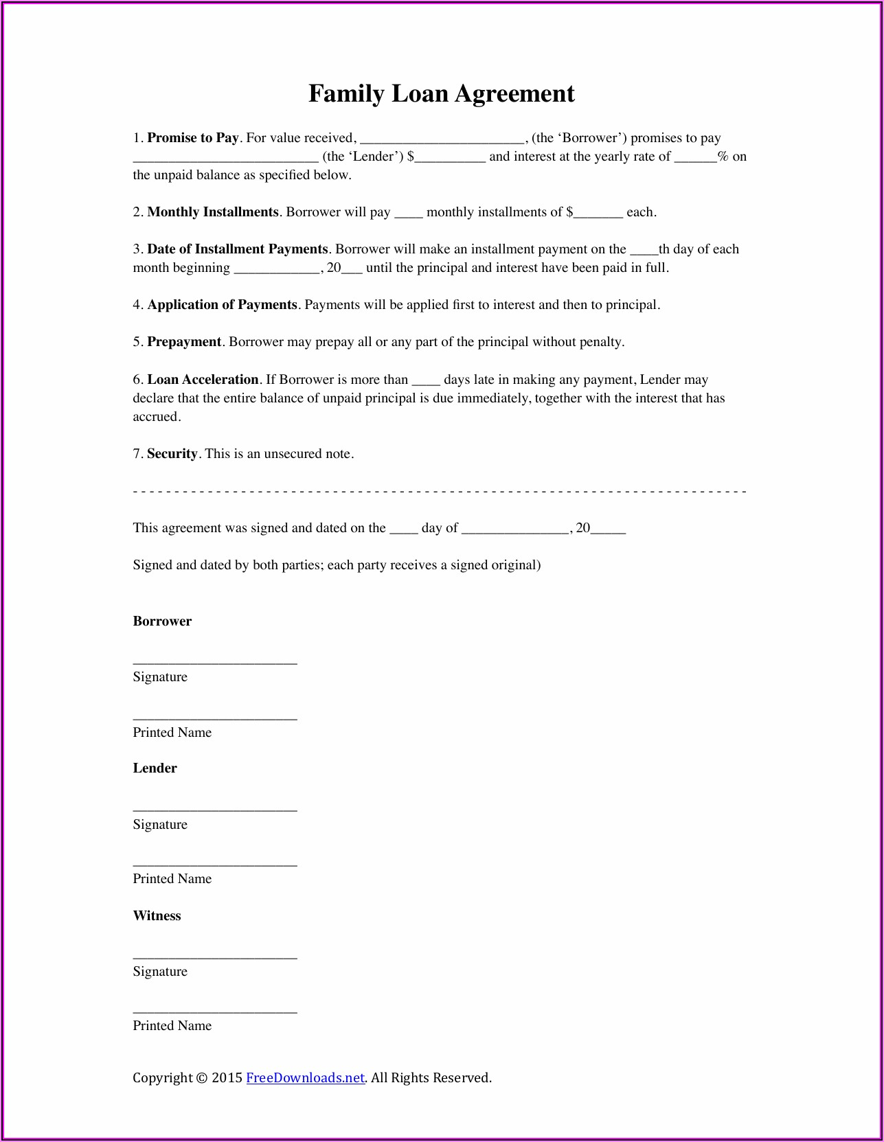 Free Loan Agreement Template Between Family Members