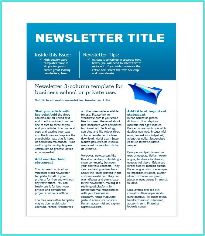 Free Newsletter Template Microsoft Word Download