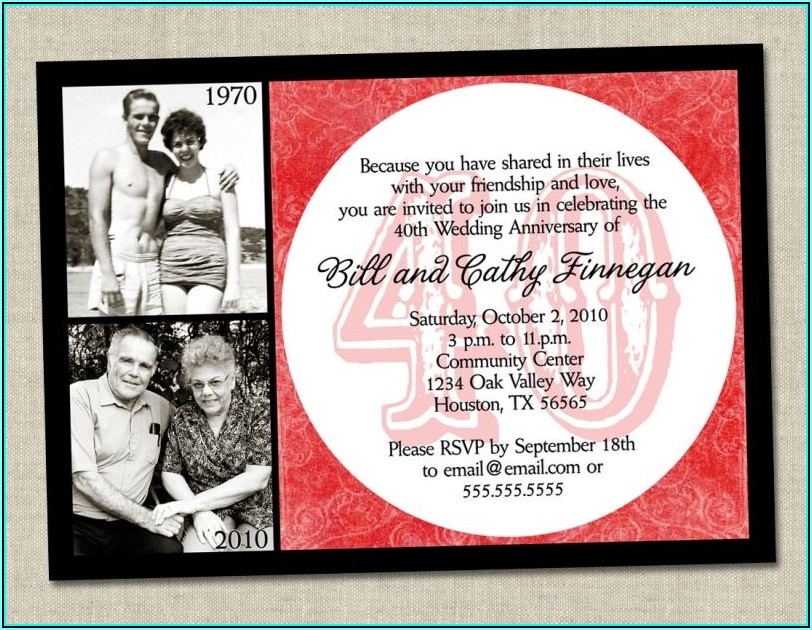 Free Printable 40th Wedding Anniversary Invitation Templates