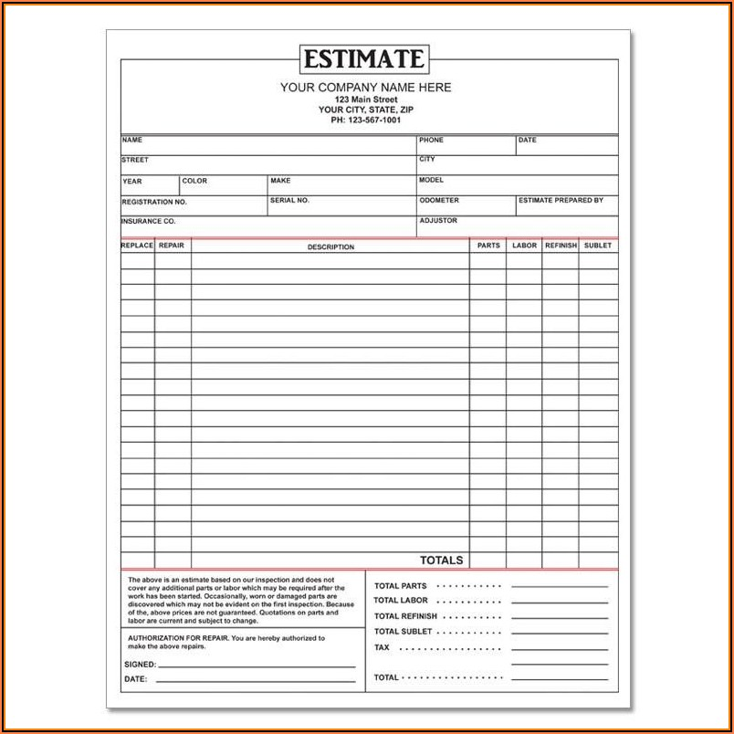 Free Printable Body Shop Estimate Forms