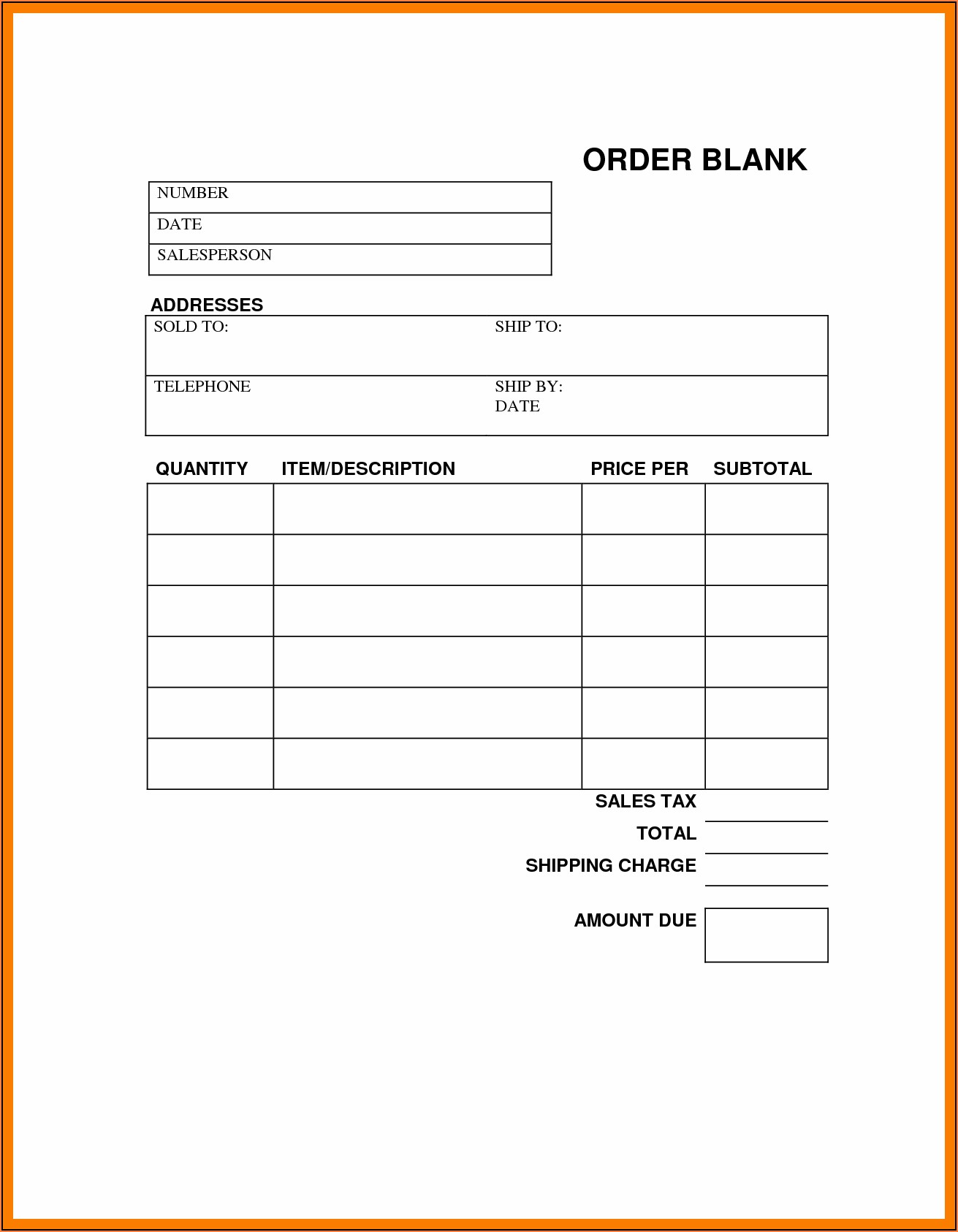 Free Receipt Form Template