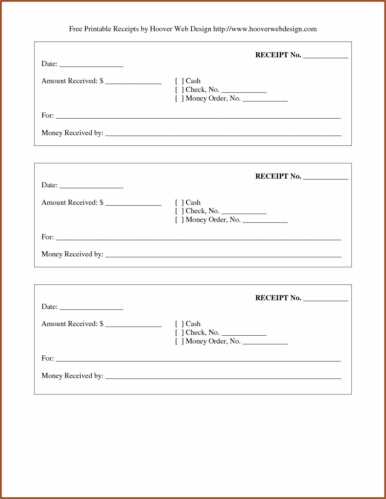 Free Receipt Forms Printable