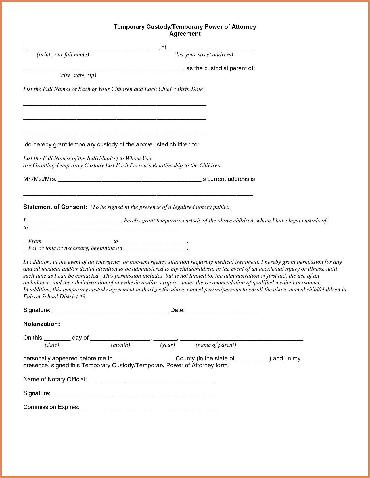 Free Temporary Child Custody Forms Florida