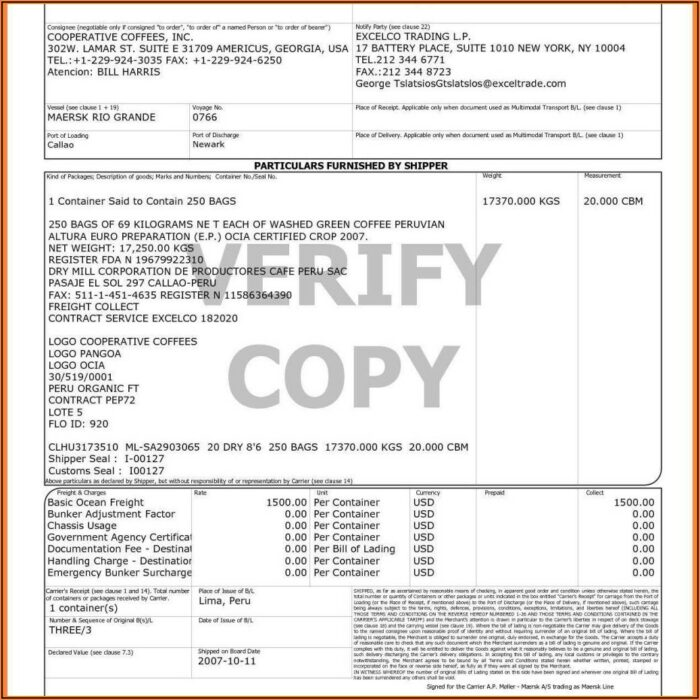 Free Vehicle Bill Of Lading Form