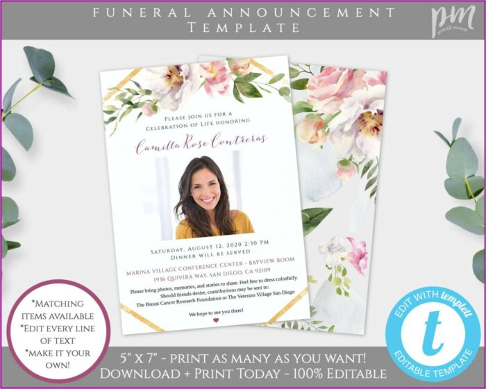 Funeral Service Announcement Template