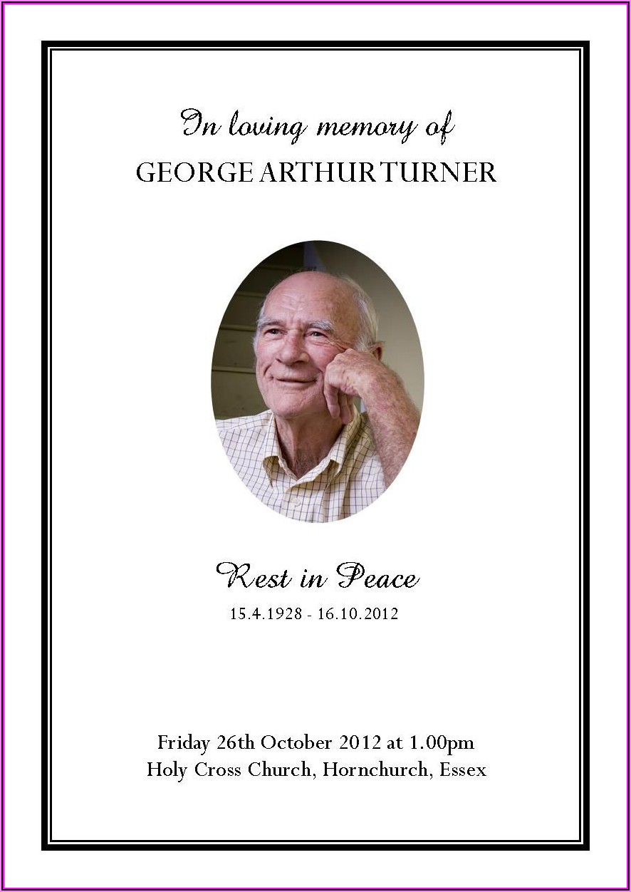 Funeral Service Leaflet Template