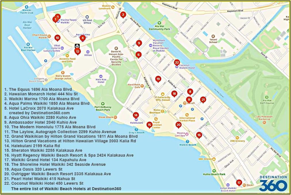 Hawaii Hotels Waikiki Beach Map