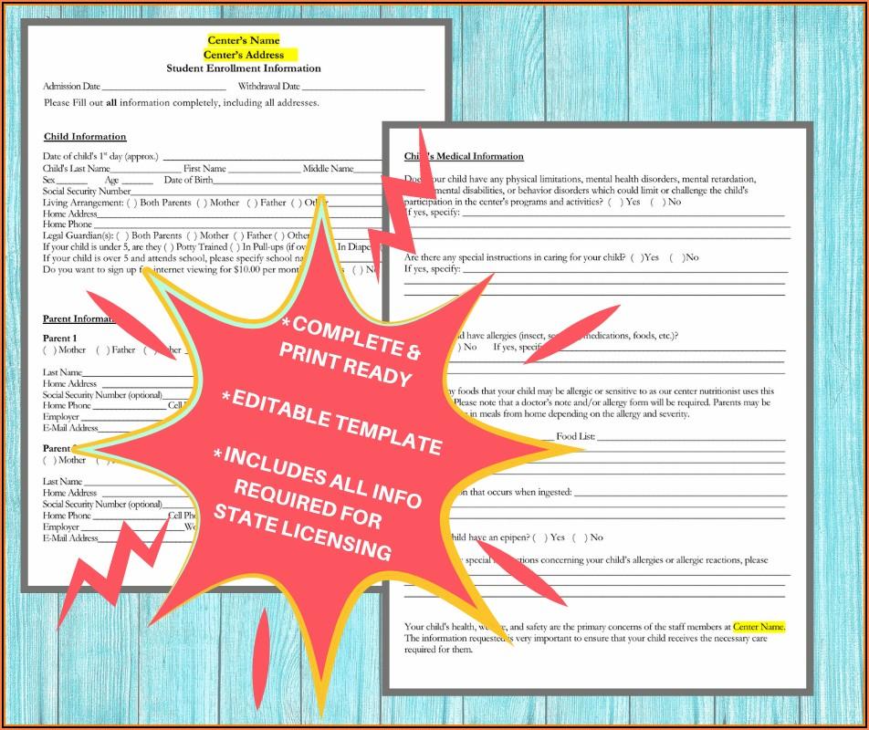 Home Daycare Enrollment Forms