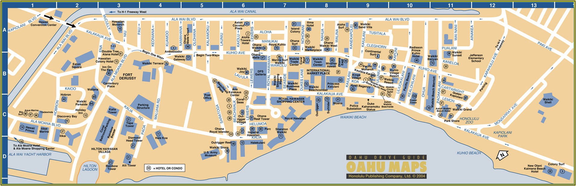 Hotels On Waikiki Beach Map