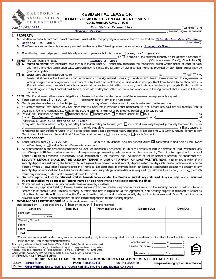 House Rental Agreement Form California