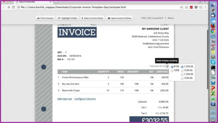 Html Templates For Billing Invoice