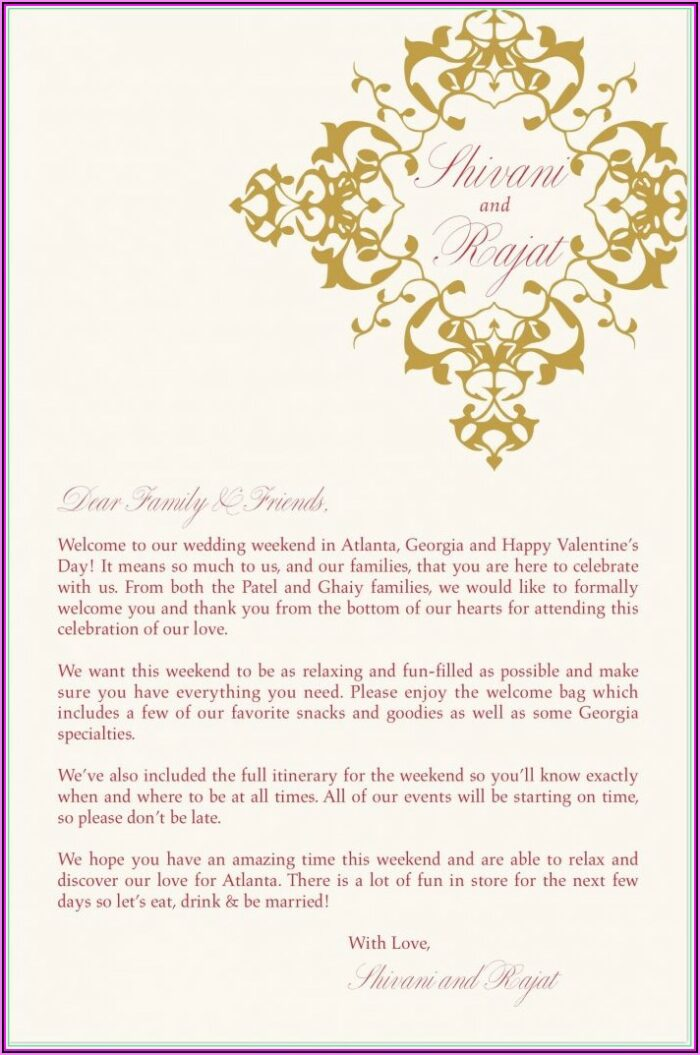 Indian Wedding Itinerary Template For Guests