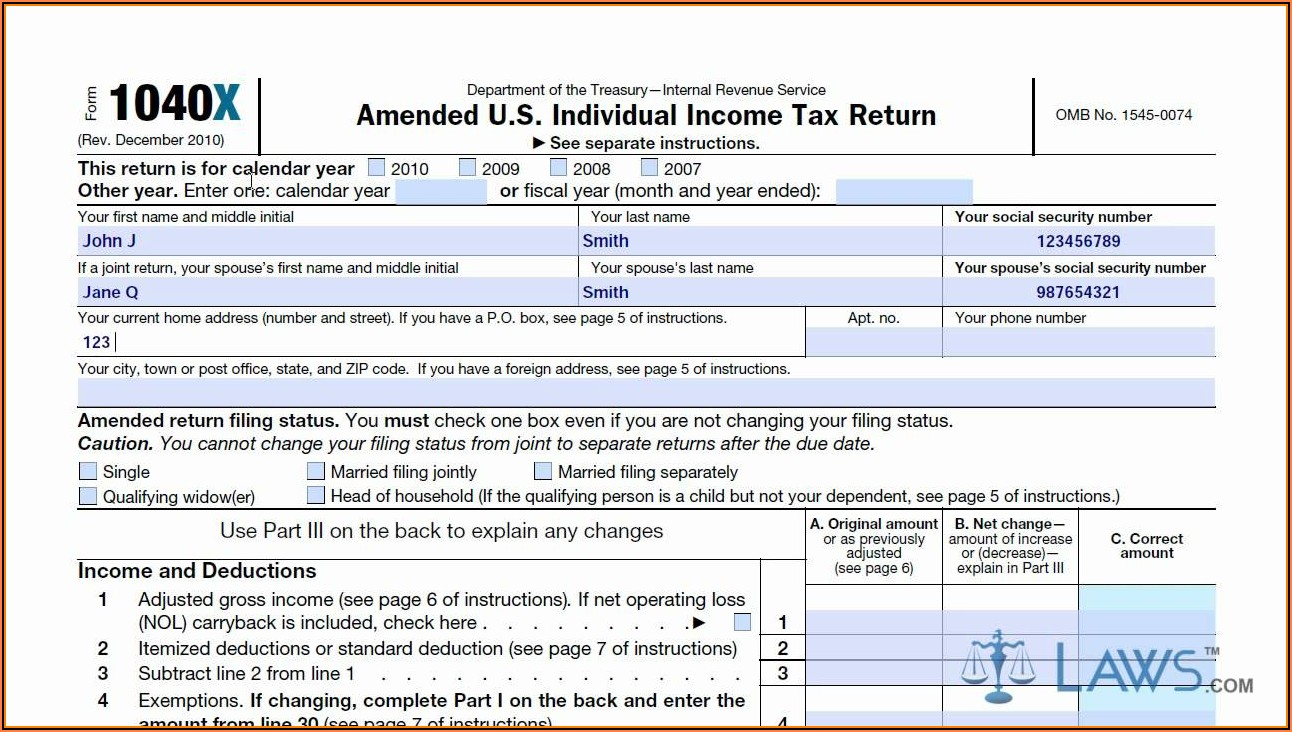 Irs Amendment Form Instructions