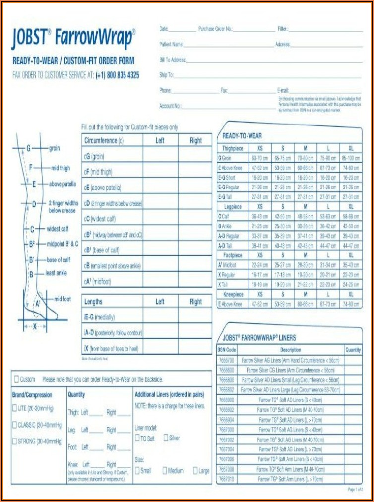 Jobst Farrowwrap Order Form